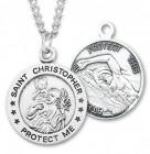 Men's St. Christopher Swimming Medal Sterling Silver