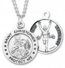 Men's St. Christopher Track Medal Sterling Silver