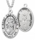 Boy's St. Christopher Track Medal Sterling Silver