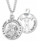 Men's Sterling Silver Round Saint Christopher Weightlifting Medal