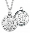 Boy's St. Christopher Wrestling Medal Sterling Silver