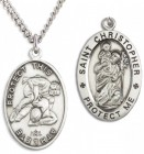Men's St. Christopher Wrestling Medal Sterling Silver