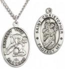 Boy's St. Christopher Wrestling Medal Sterling Silver