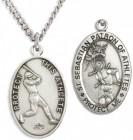 Men's Sterling Silver Saint Sebastian Baseball Medal