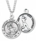 Men's Sterling Silver Round Saint Sebastian Baseball Medal