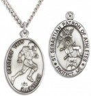 Men's Sterling Silver Saint Sebastian Football Medal