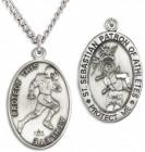 Men's Sterling Silver Saint Sebastian Football Medal