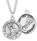 Men's Round Sterling Silver St. Sebastian Hockey Medal