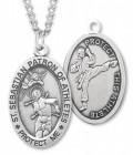 Boy's St. Sebastian Martial Arts Medal Sterling Silver