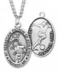 Men's St. Sebastian Soccer Medal Sterling Silver