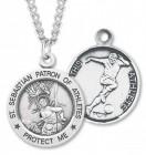 Boy's St. Sebastian Soccer Medal Sterling Silver