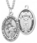 Boy's St. Sebastian Weight Lifting Medal Sterling Silver