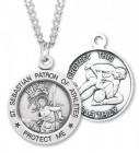 Boy's St. Sebastian Wrestling Medal Sterling Silver
