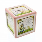 Personalized Baptism Ceramic Block Piggy Bank in Pink