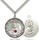 Classic Round Sacred Heart Medal with Birthstone Options