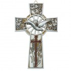 Confirmation Resin Wall Cross with Dove 8""