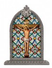 Crucifixion Glass Art in Arched Frame