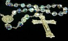 Crystal Aurora Borealis Swarovski Rosary 8mm Miraculous Centerpiece Sterling Silver