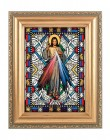 Divine Mercy in Gold Frame Stained Glass Effect