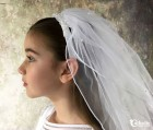 First Communion Headband Veil With Flowers and Pearls