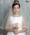 First Communion Heart Rhinestone Tiara with Veil