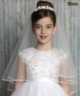First Communion Porcelain Flowers Headpiece w Veil