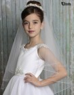 First Communion Veil with Floral Pearl Cluster Band