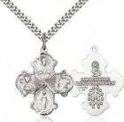 Men's Wide Tip Four Way Medal with Radiant Heart Center [CM2089]