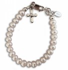 Freshwater Pearl and Cross Baptism Bracelet
