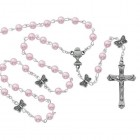 Girl's Pink Bead and Butterfly Our Father Bead Rosary