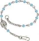 Girls Silver Chalice First Communion Bracelet 4mm Crystal Beads - Aqua