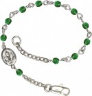Girls Silver Chalice First Communion Bracelet 4mm Crystal Beads - Emerald Green