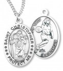 Girl's St. Christopher Basketball Medal Sterling Silver