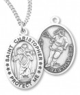 Girl's St. Christopher Lacrosse Medal Sterling Silver