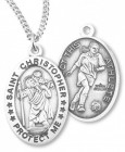 Girl's St. Christopher Soccer Medal Sterling Silver