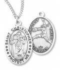 Girl's St. Christopher Softball Medal Sterling Silver