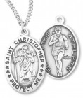 Girl's St. Christopher Track Medal Sterling Silver