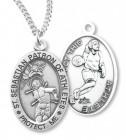 Girl's St. Sebastian Basketball Medal Sterling Silver