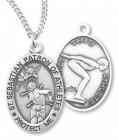 Girl's St. Sebastian Swimming Medal Sterling Silver