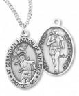 Girl's St. Sebastian Track Medal Sterling Silver