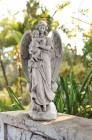 "Guardian Angel Garden Statue Holding Child 22"" High"