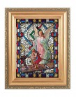 Guardian Angel Gold Frame Stained Glass Effect