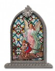 Guardian Angel Grace Glass Art in Arched Frame