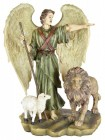 "Guardian Angel, Lion & Lamb Statue - 8 1/2""H [PS0091]"