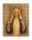 Immaculate Heart of Mary Wall Plaque in Distressed Wood
