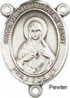 Immaculate Heart of Mary Rosary Centerpiece Sterling Silver or Pewter