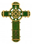 "Irish Celtic Wall Cross, Hand Painted Resin - 9 1/2""H"
