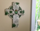"Irish Claddagh Wall Cross, Hand Painted Resin - 10""H"
