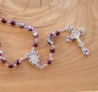 January Dark Red Aurora Glass Bead Rosary