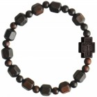 Jujube Wood Hex Cut Bead Rosary Bracelet - 10mm